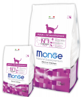 Корм MONGE SUPERPREMIUM CAT ADULT для кошек курица 400гр