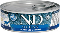 Влажный корм Farmina N&D Cat Ocean Salmon, cod & shrimp консервы для кошек Лосось, треска и креветки 80гр