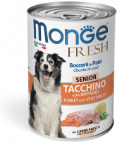 Консервы Monge Dog Fresh Chunks in Loaf для пожилых собак мясной рулет индейка с овощами 400гр
